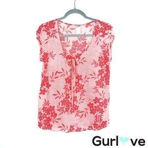 Ixia ModCloth Coral Floral Short Sleeve Blouse S
